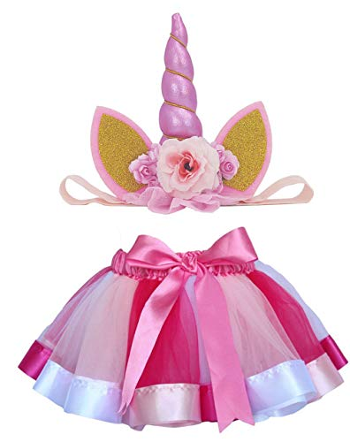 Loveyal Tulle Rainbow Tutu Skirt for Newborn Baby Girls 1st Birthday Photography Outfit Sets with Unicorn Headband. (Rose, S,0-24 -