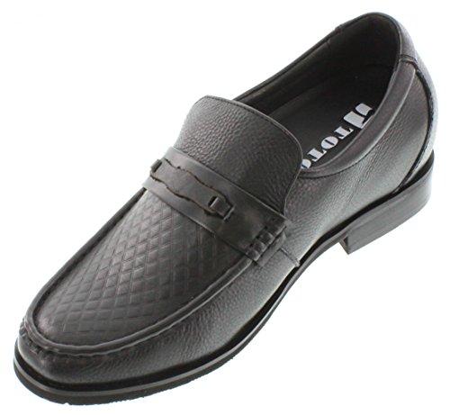 Toto X40962-2.6 Inches Groter - Hoogte Toenemende Lift Schoenen (zwart Lederen Slip-on)
