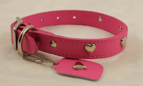 (OmniPet Signature Leather Dog Collar with Heart Ornaments, Pink, 16