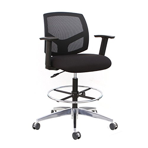 Thornton's Office Supplies Mesh Back Adjustable Drafting Stool Tall Office Chair - Black (Work Stool Back Mesh)
