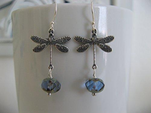 - Vintage Style Dragonfly Denim Blue Czech Glass Earrings on Sterling Silver Earring Wires Boho Jewelry
