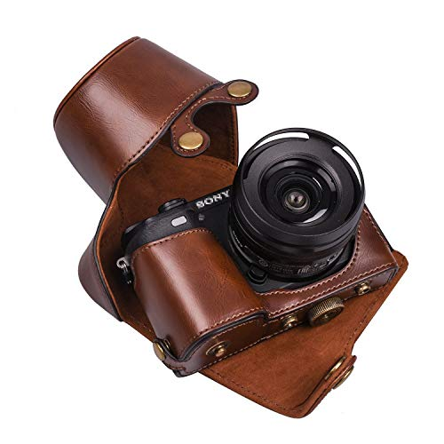 XEVN for sony a6300 case,for sony a6000 case,Premium PU Full Body Leather Camera Case Bag for sony alpha a6300 a6000 Fit 16-50mm Lens,Delivery camera strap and wrist strap