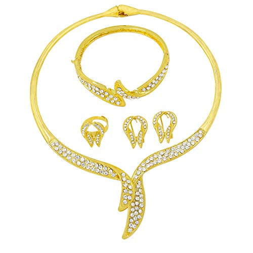 - liffly Dubai Crystal Jewelry for Women, Charms Life Leaves Necklace Earrings for African Bridal Jewelry Set