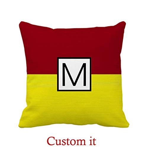 Goldaisy Outdoor Pillowcase Monogram Modern Yellow and Maroon Elegant Pillow Covers 20 x 20inches -