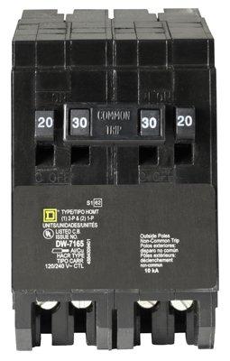 Homeline Tandem Circuit Breaker Double Pole 20/30 Amp 2 Spaces Bulk