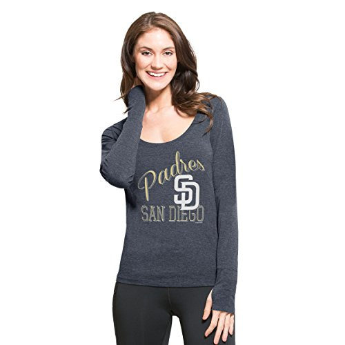 MLB San Diego Padres Women's '47 Dash Long Sleeve Tee, Medium, Shift Navy