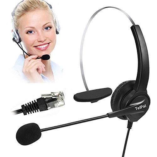 Telephone Headset, TelPal Noise Cancelling Headset Mic & Telephone Adapter Call Center, Desk Telephone, Perfect Phone Sales, Insurance, Hospitals, Telecom Operators - [Monaural]