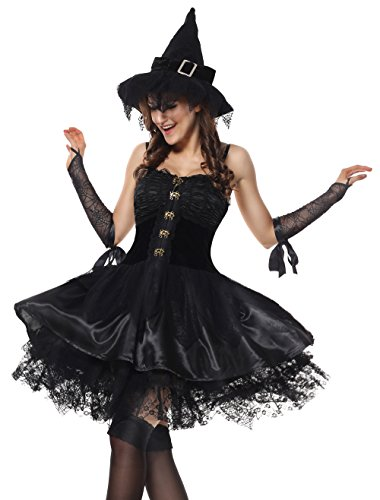 Evil Witch Costumes (Lusiya Women's Bad Witch Adult Halloween Plus Size Costume Black Small/Medium)