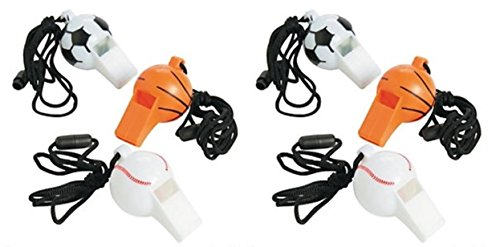36 pc Sports whistles necklaces party favors -