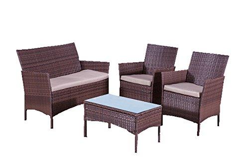 Alexander Morgan Am702 Classic Garden Rattan Sofa Set Brown
