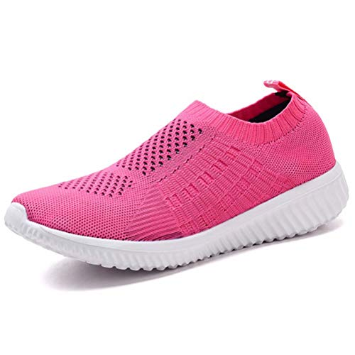 konhill Women's Lightweight Casual Walking Athletic Shoes Breathable Mesh Work Slip-on Sneakers 11 US Rosy,43 ()