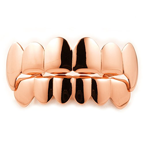 Rose Gold Plated Vampire Fang Grillz Top and Bottom SET