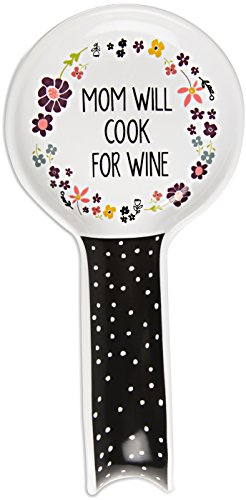 - Pavilion Gift Company - Mom Will Cook for Wine - Ceramic Spoon Rest
