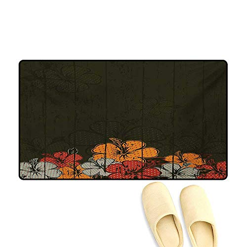 Bath Mat,Abstract Wooden Backdrop with Hawaiian Romantic Flowers Buds Blooms Leaves,Door Mats for Inside Non Slip Backing,Amber Red Army Green,32