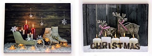 (ChosenTreasures4You 2 Christmas LED Victorian Canvas Wall Decor Skates Sleigh)