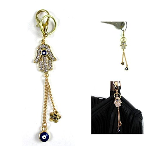 Liner Gold Plated (New 1 Gold Plated Hamsa Purse Charm Evil Eye Lucky Hand Crystal Keychain Accessory)