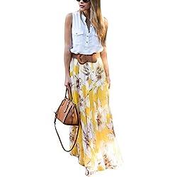 Asvivid Women's Summer Bohemian Floral Elastic Waist Chiffon Casual Maxi Skirt Medium Yellow