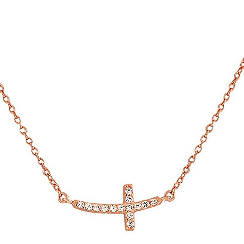 925 Sterling Silver Rose Gold-Tone Womens Sideways Religious Cross White CZ Pendant - Cross Gold Religious Tone