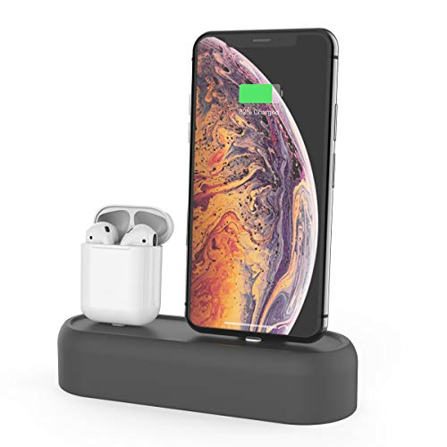 AhaStyle 2 in 1 Charging Dock Stand Holder Silicone for Apple AirPods and iPhone Xs/XS Max/XR/X/8/8 Plus (Gray)