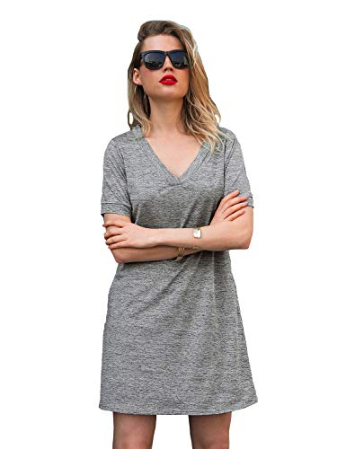 Blooming Jelly Womens Summer T Shirt Dress Mini V Neck Casual Plain Sun Dresses Tunic with Pockets(Large, Dark Grey)