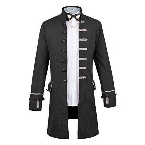 WULFUL Men's Steampunk Tailcoat Jacket Gothic Victorian Frock Coat Tuxedo Halloween Costume by WULFUL