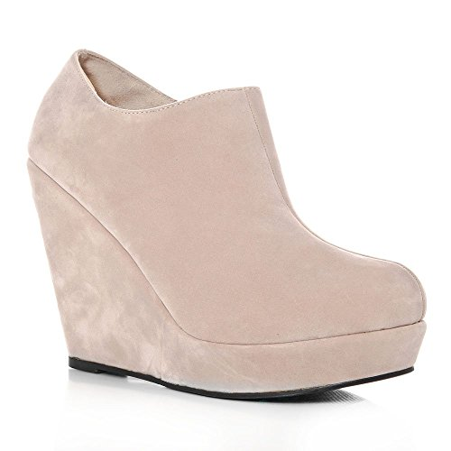 Wedge High Heeled Platform Ankle Shoes Boots NUDE SUEDETTE MHriEPn9f