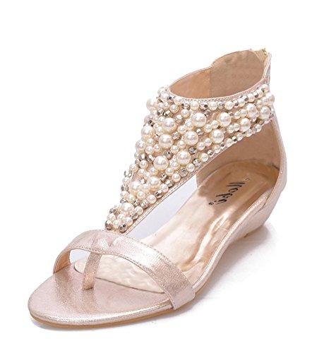 Toe Or Soirée Casual Peep Compensé Sandales Éclair Chaussures Fermeture Talon Femme Roman RfqPYwx