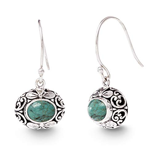 (WILLOWBIRD Round Simulated Turquoise Filigree Dangle French Wire Earrings for Women In Oxidized 925 Sterling Silver)