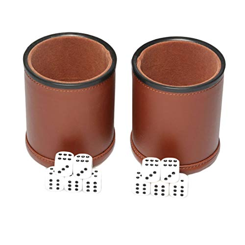 Leather Dice Cup Set Felt Lining Quiet Shaker with 5 Dot Dices for Farkle Yahtzee Games,2 Pack (Brown)