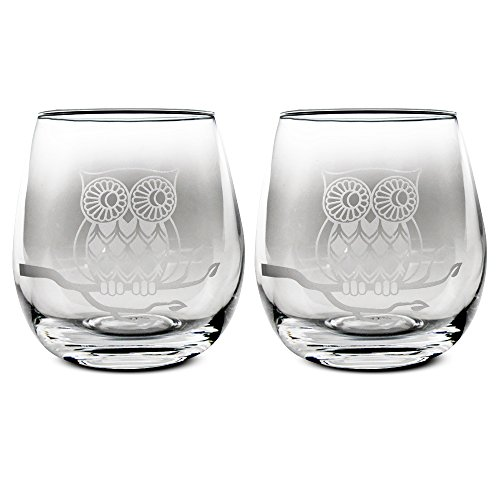 TMD Holdings Etched Owl Stemless Wine Glasses, Set of (Owl Glasses)