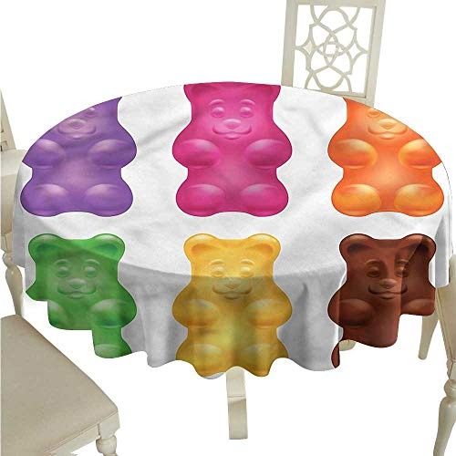 ScottDecor Dinning Tabletop Decoration Children,Colorful Jelly Gummy Bears Jacquard Tablecloth Round Tablecloth D 70