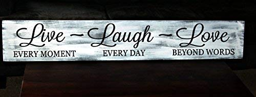 weewen Large 8 X 24 Primitive Live Laugh Love Bedroom Sign with Sayings Home Decor Wooden Plaque (Laugh Live Plaques Love Decor)