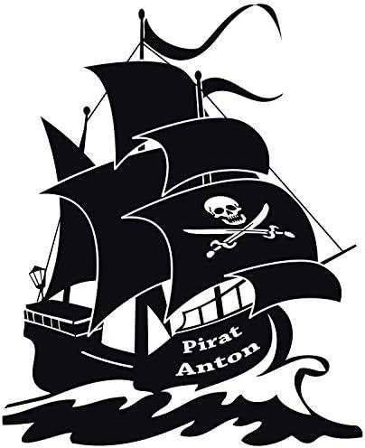 Barco pirata con nombre a elección - Elija el color y tamaño - negro, 70x60cm: Amazon.es: Hogar