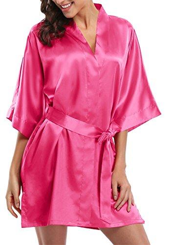 Giova Pure Color Satin Short Silky Bathrobe Sleepwear Nightgown Pajama,Rose,Medium ()