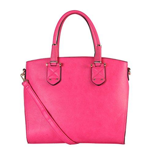 rimen-co-womens-synthetic-leather-top-zipper-closure-tote-handbag-gs-3223-fuchsia