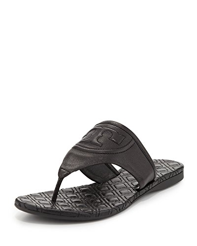 Tory Burch Fleming Marion Quilted Flat Thong Sandal Black Size 7.5