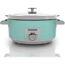 BLACK+DECKER SC2007D 7 Quart Dial Control Slow Cooker with Built in Lid Holder, Teal Wave