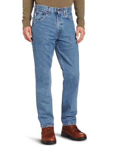 Carhartt Men's Five Pocket Tapered Leg Jean, Stonewash, 33W x 34L