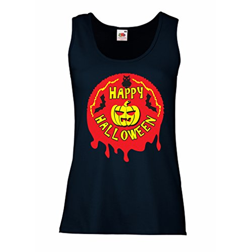 Sleeveless t Shirts for Women Happy Halloween! - Party Clothes - Pumpkins, Owls, Bats (Small Blue Multi Color) ()