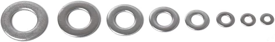 kaaka 72Pcs//Set M4-M16 8 Sizes Car Vehicle Stainless Steel Flat Round Washers Gasket for Automotive Universal Hard Ware Replacement Accessories