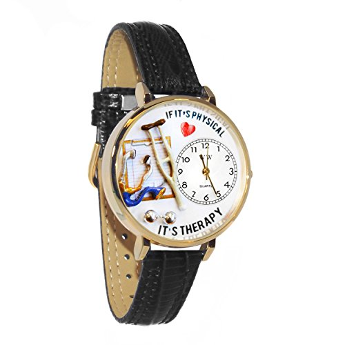 Whimsical Watches Unisex G0620022 Physical Therapist Black Skin Leather Watch - Therapist Unisex Watch