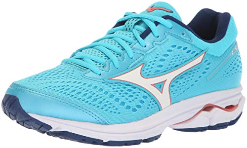 Mizuno Women's Wave Rider 22 Running Shoe, Blue Atoll/Gerogia Peach, 8.5 D