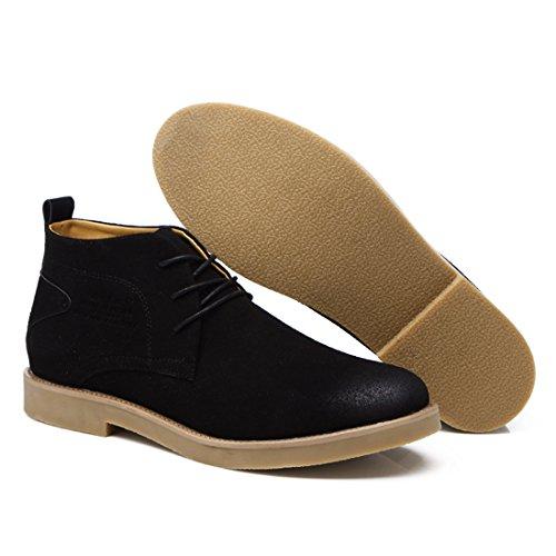 Xiafen Mens Mid-cut Autunno Nuovo Stile Moda Stringate Oxford Scarpe Nere