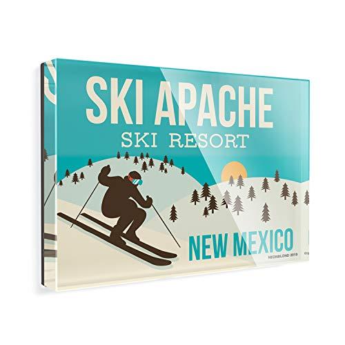 Acrylic Fridge Magnet Ski Apache Ski Resort - New Mexico Ski Resort NEONBLOND