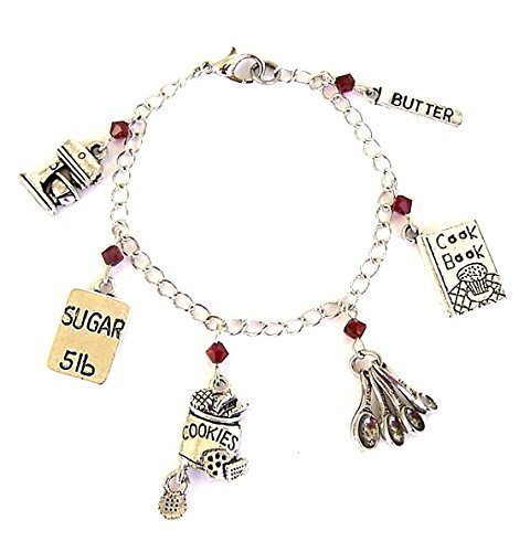 Baker Bracelet or Necklace with Birthstone Swarovski Crystals and Cooking Charms ()