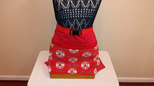 (ADJUSTABLE NO TIE APRON - RED SOX - LIMITED EDITION / 3 Lined Pockets waist apron/Perfect For The Lover of Sports - One size fits most )