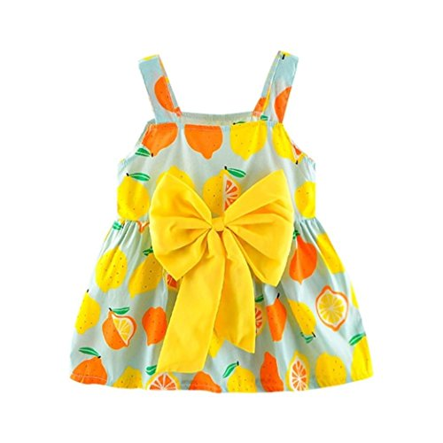 Newborn Toddler Baby Girls Summer Casual Lemon Sleveeless Print Strap Princess Big Bow Party Dresses 0-24 M (Mint Green, 6-12 ()