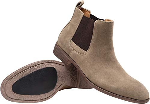 Pictures of JOUSEN Men's Chelsea Boots Elastic Formal Gray 11.5 M US 2
