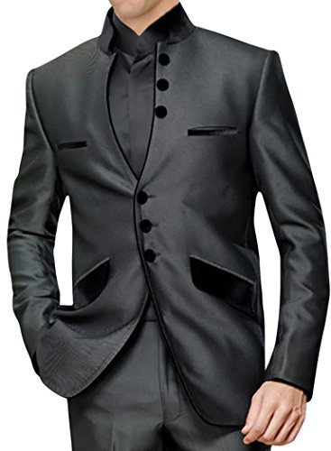 INMONARCH Mens Dark Gray 3 pc Nehru Suit Front Open NS120R42 42 Regular Dark-gray by INMONARCH