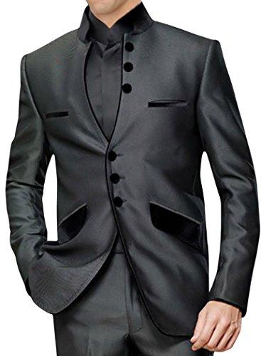 INMONARCH da uomo anteriore aperto 3pc dark-grey Nehru Suit ns120 Dark-Grey S
